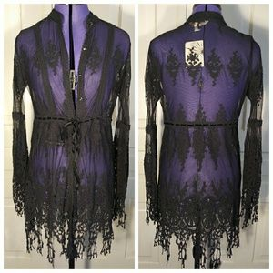 NWT Boston Proper embroidered lace tunic top sheer